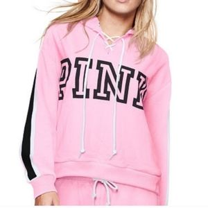 VS PINK Lace Up Cupid Pink Hoodie